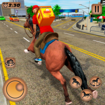 Mounted Horse Riding Pizza Guy: Food Delivery Game 1.0.4 APK MOD